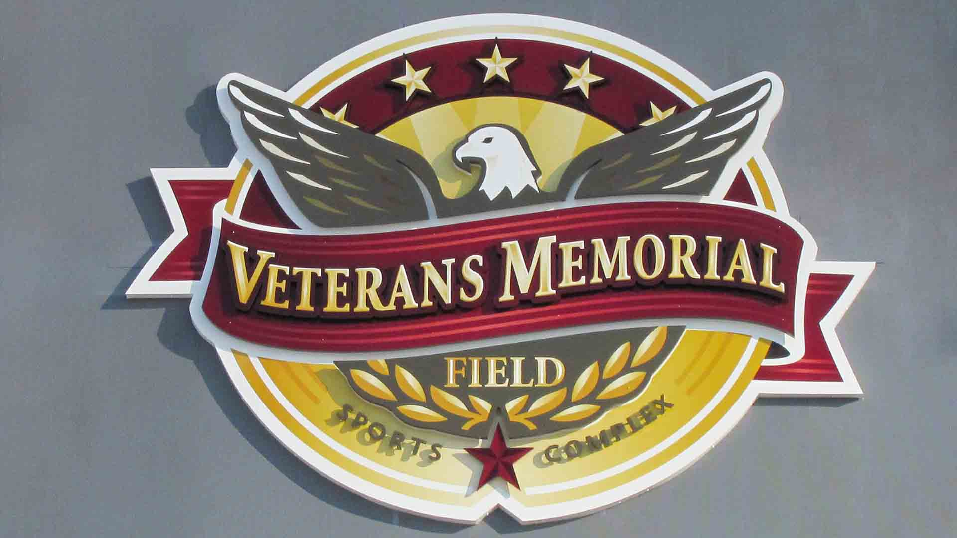 Dimensional Veteran's Memorial Logo on Entrance