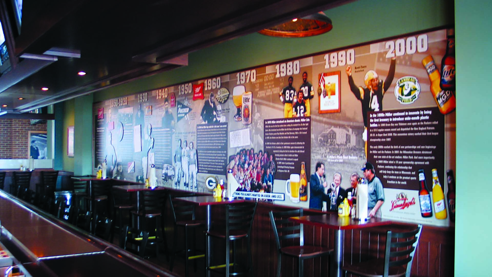 Graphic murals in Curly's pub