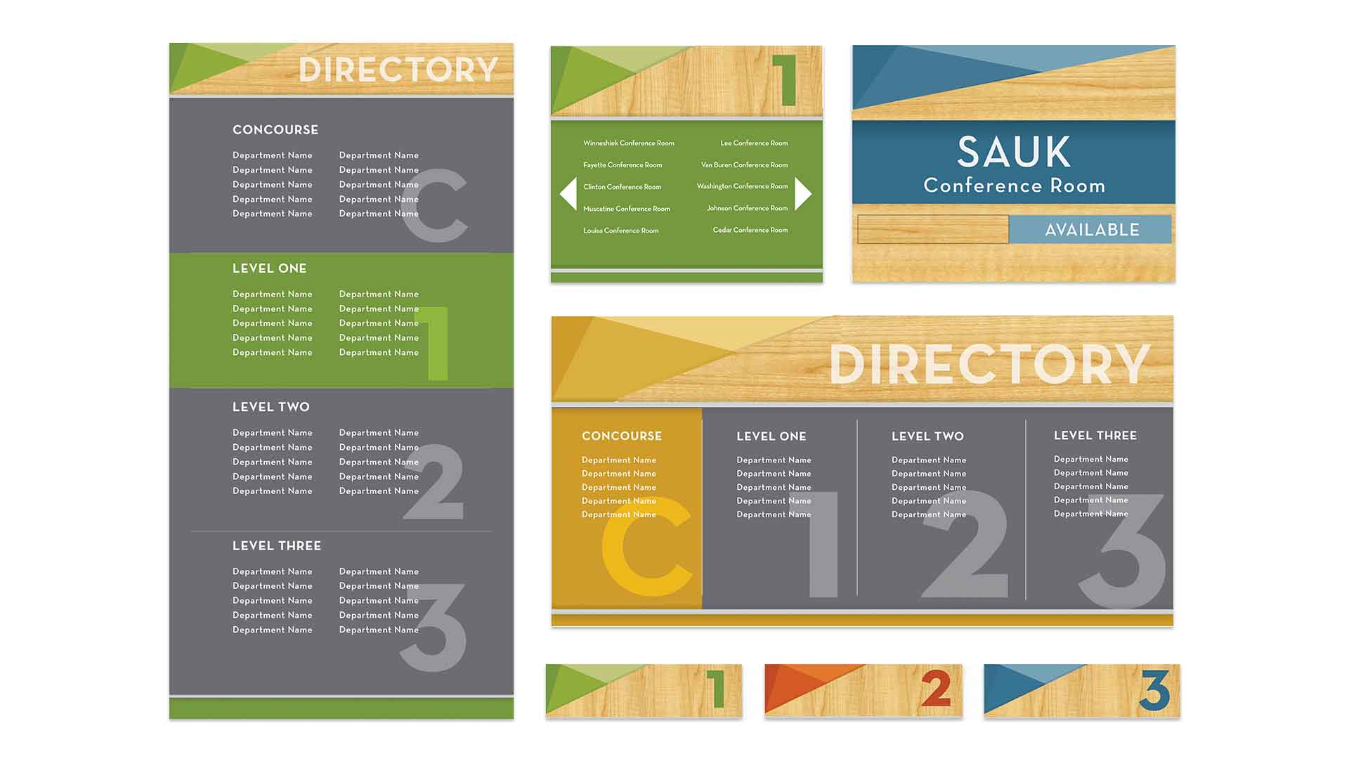 Wayfinding package with directory, room IDs, and floor IDs