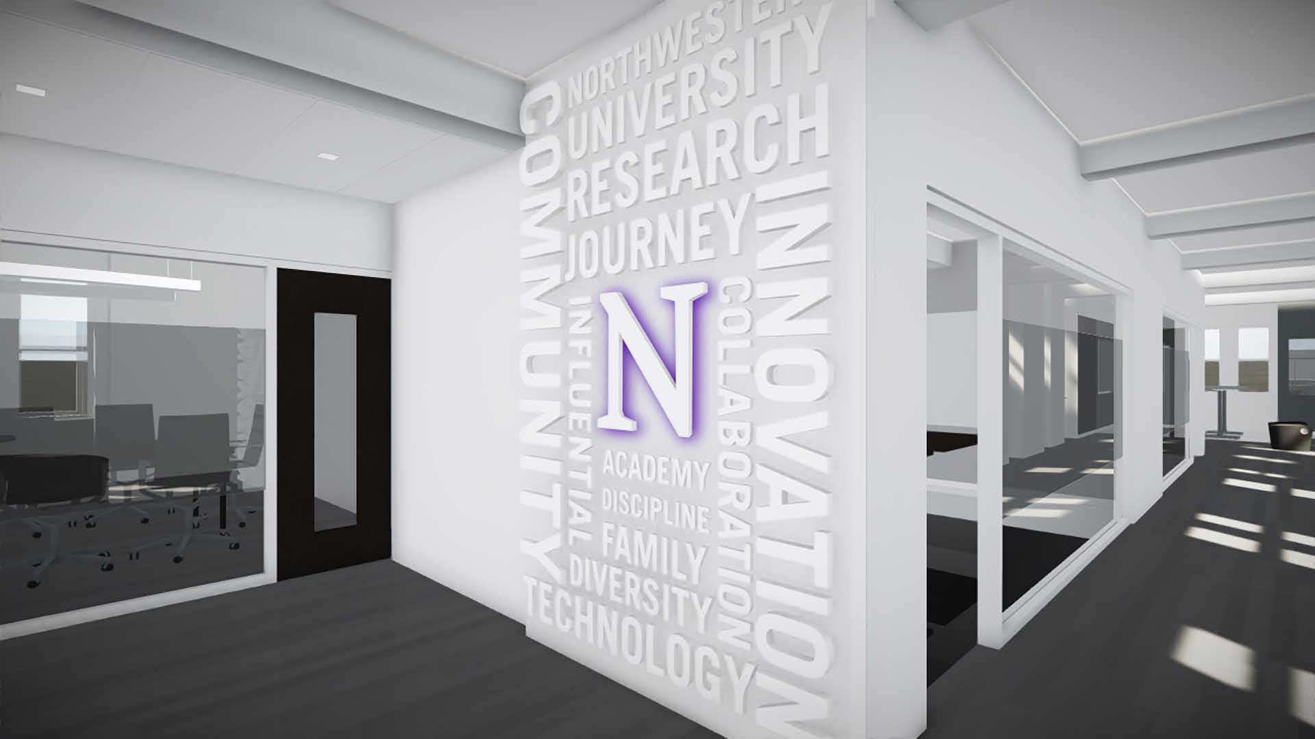 Wall with dimensional Northwestern university logo with purple edge lighting with surrounded with white dimensional words