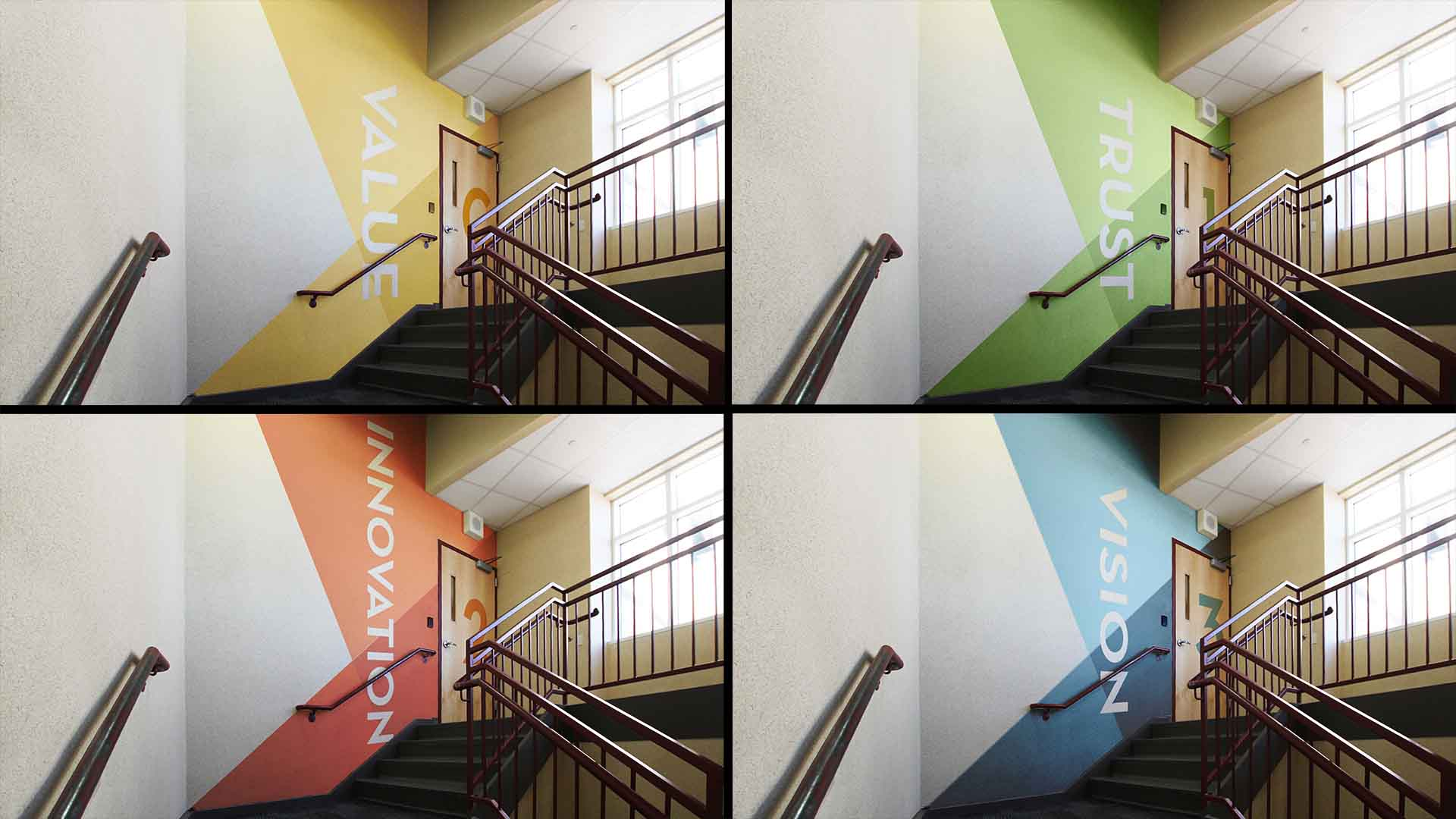 Custom wall graphics in stairwells
