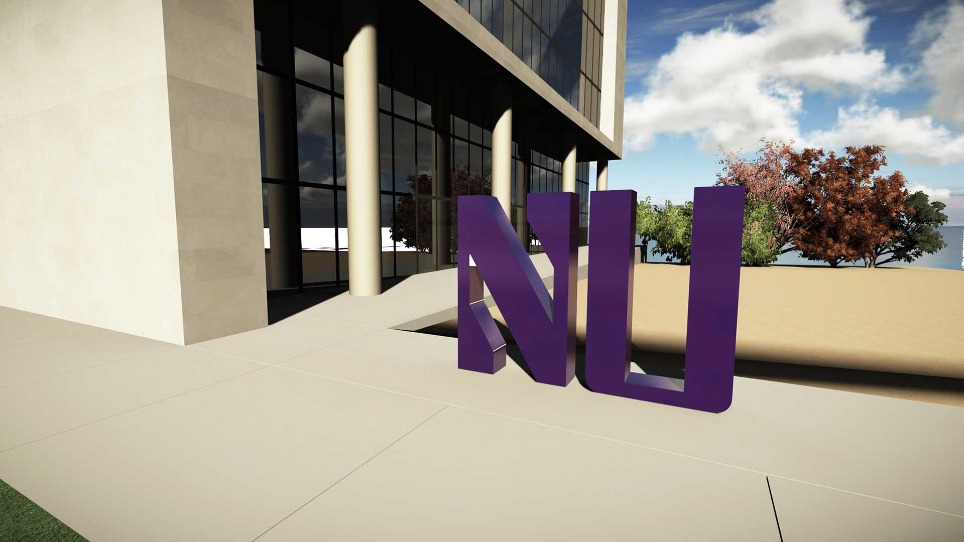 Northwestern university exterior sign that reads NU
