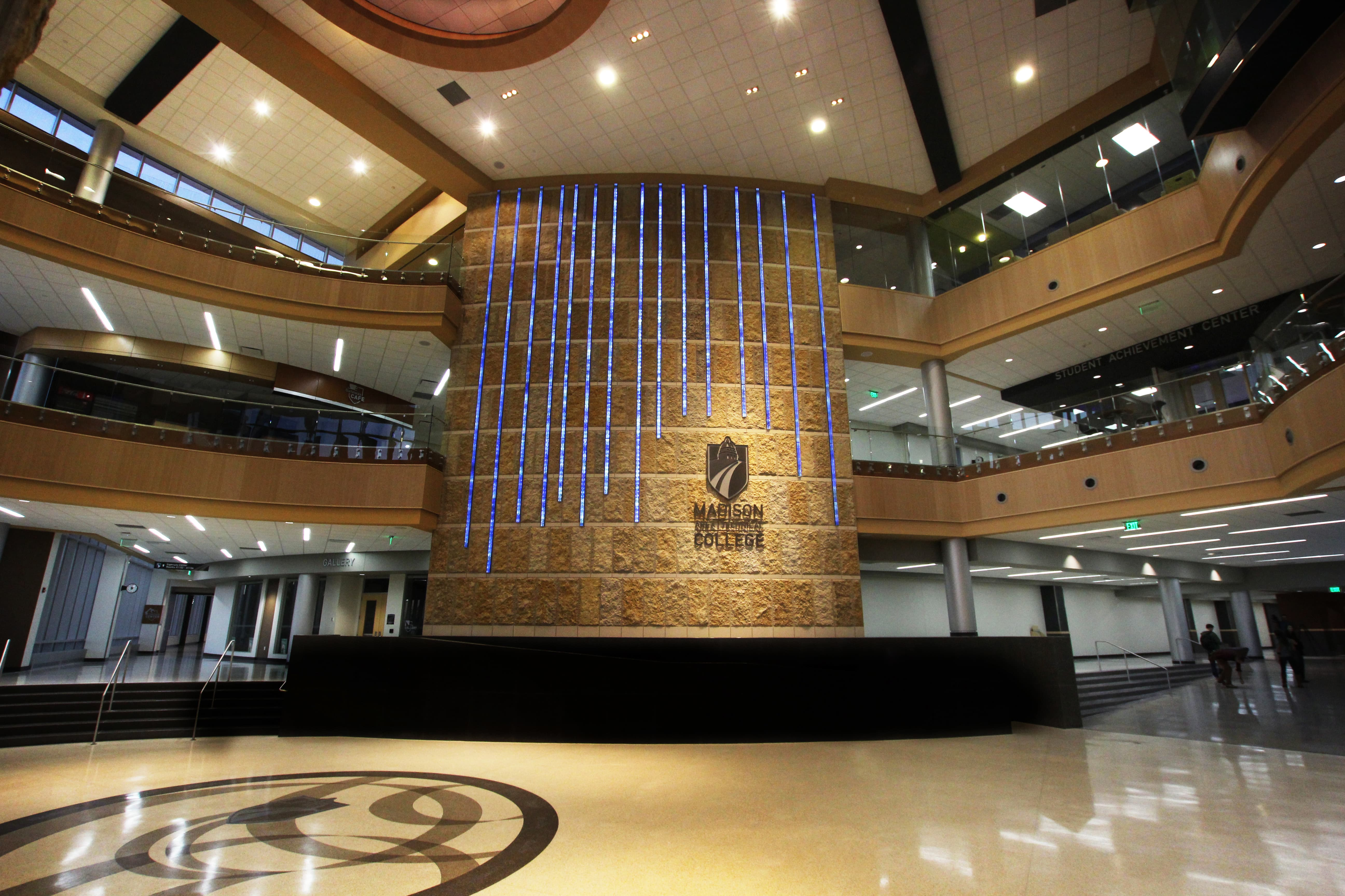 Digital waterfall in the main entry of Madison College