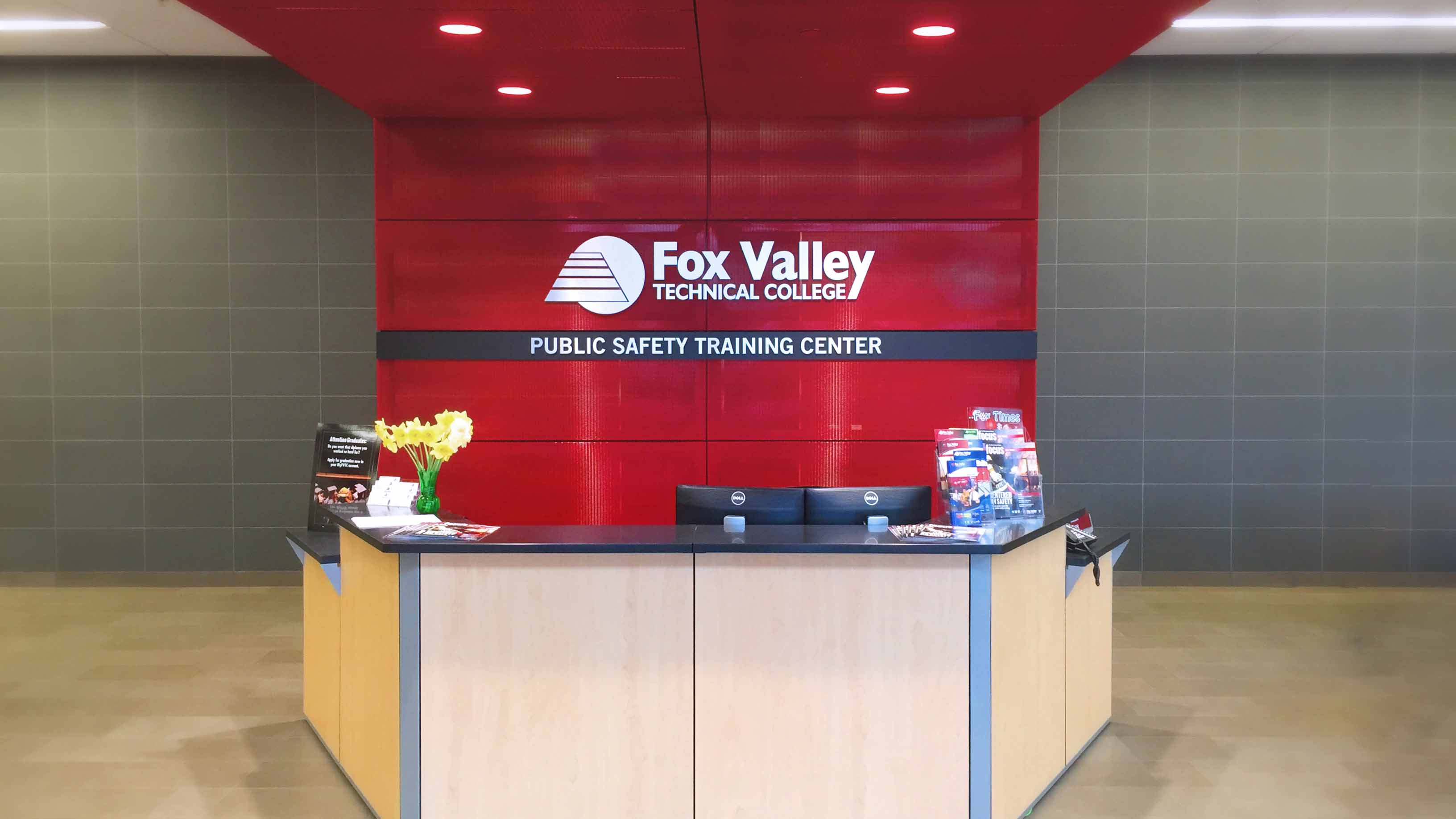 Fox Valley Technical College Reception Desk Branding
