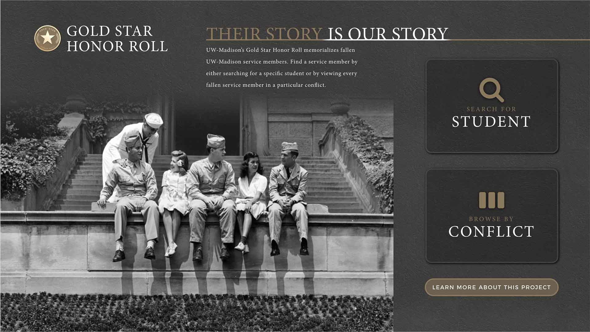 Detail of Home screen for the UW Gold Star Honor Roll Kiosk's media