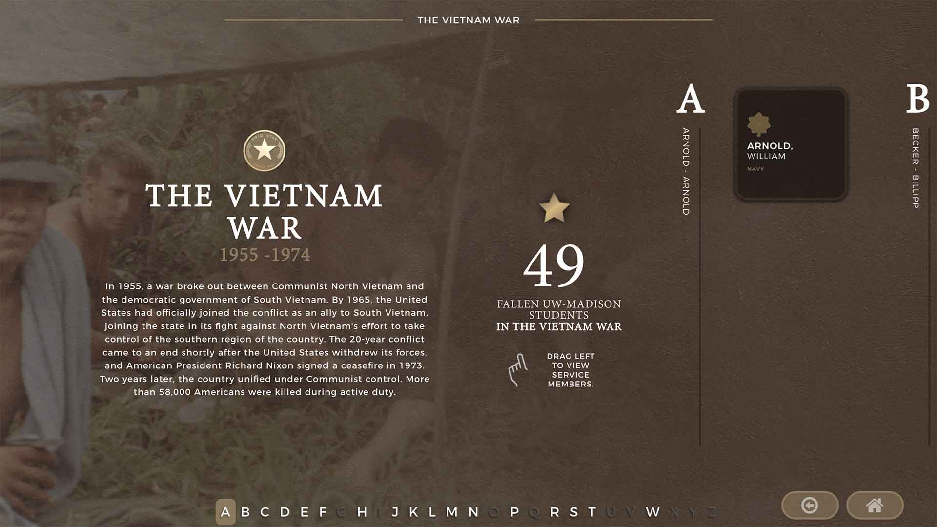 Detail of War category screen for the UW Gold Star Honor Roll Kiosk's media