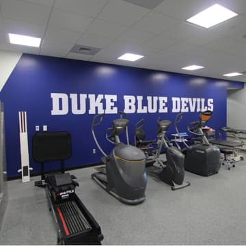 Gym with Duke Blue Devils mural