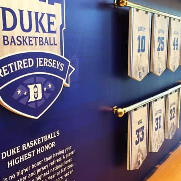 Duke Basketball Retired Jerseys exhibit