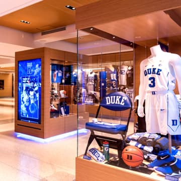 Display case of basketball memorabilia