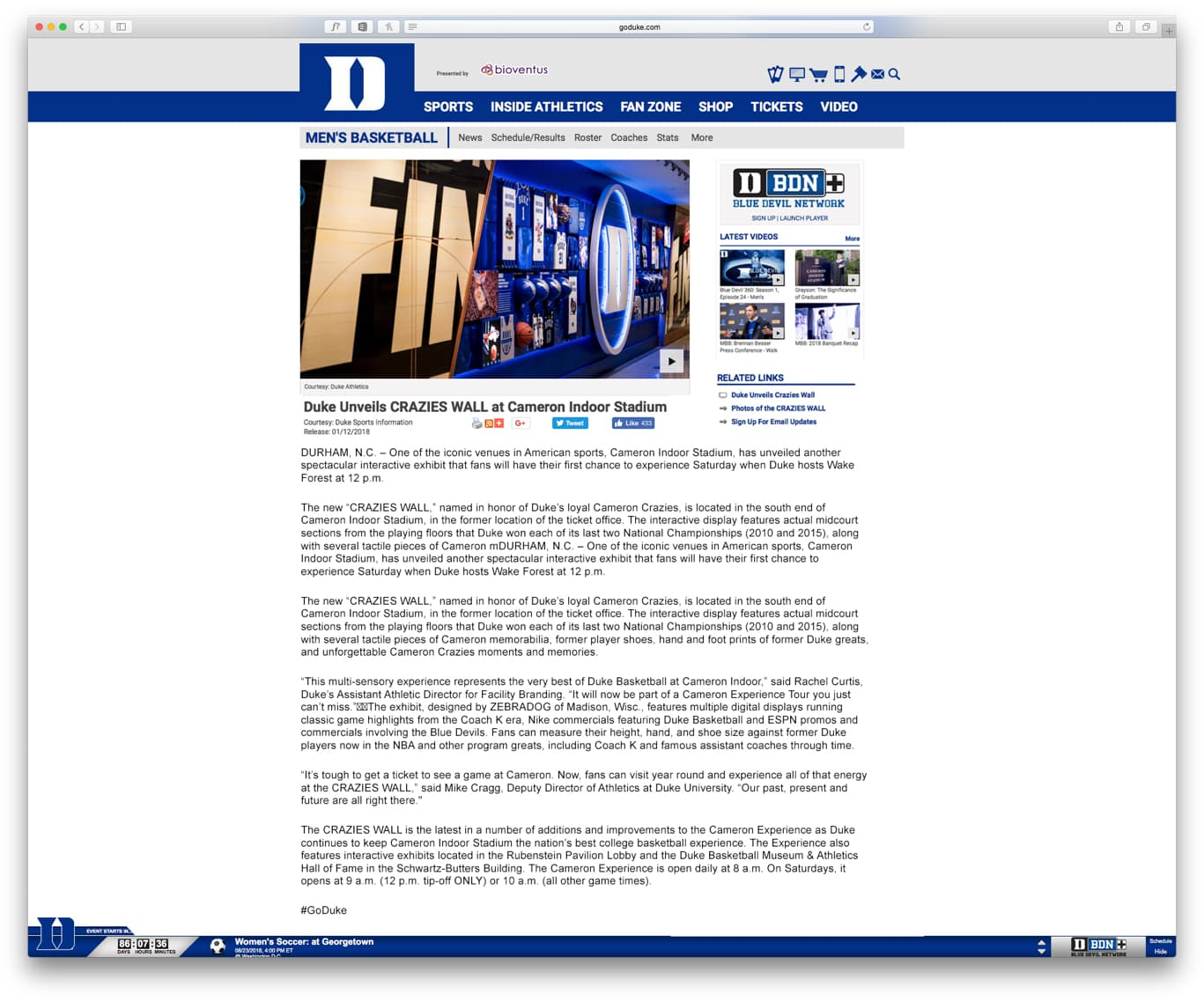 "Screenshot of article titled ""Duke Unveils CRAZIES WALL at Cameron Indoor Stadium"""