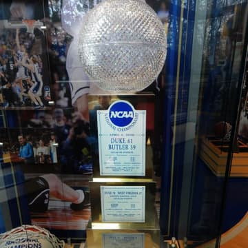 NCAA crystal basketball trophy